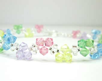 Pastel rainbow bracelet, swarovski bracelet, rainbow swarovski, spring bracelet, seed bead bracelet, crystal bracelet, bicone bracelet BR003