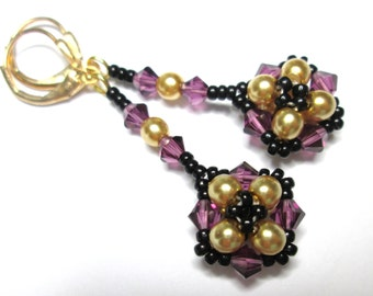 Purple and gold pearl swarovski earrings, purple earrings, amethyst jewelry, victorian floral earrings, beaded earrings, ER013