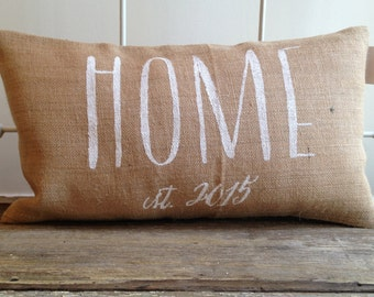 Burlap Pillow -  Home pillow, Personalized pillow, Realtor/Housewarming Gift, wedding/anniversary gift