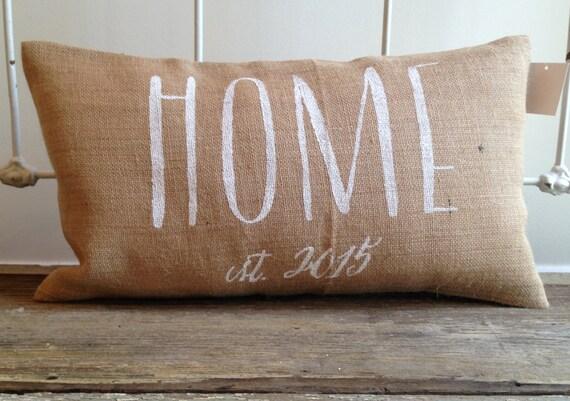 Burlap Pillow -  Home pillow, Personalized pillow, Realtor/Housewarming Gift, wedding/anniversary gift
