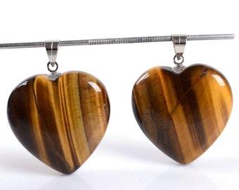 g2336 Two 25mm Golden tiger's eye heart pendant focal bead