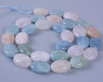 """0408  14mm Natural aquamarine morganite beryl flat oval loose gemstone beads 16"""""""