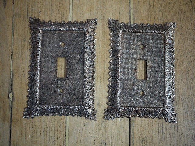 Two Vintage Metal Ornate Light Switch Cover Plate From