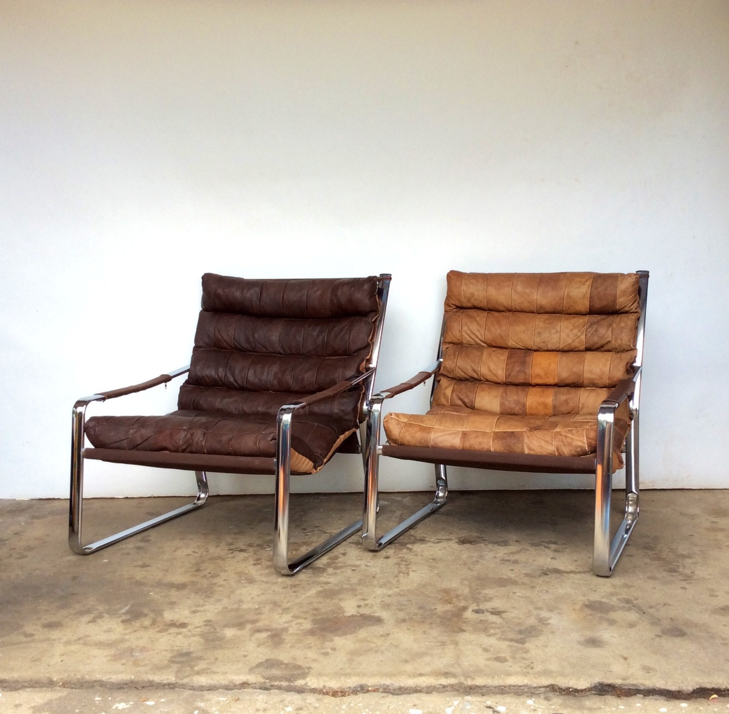 Pair Of Mid Century Modern Leather Sling Chairs Haute Juice