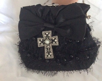 Black Satin and Pearl Clutch, Religious Clutch Bag, Confirmation, Baptism, Wedding Clutch
