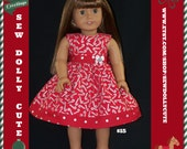 American Girl Doll Christmas Red N Silver Candy Cane Dress