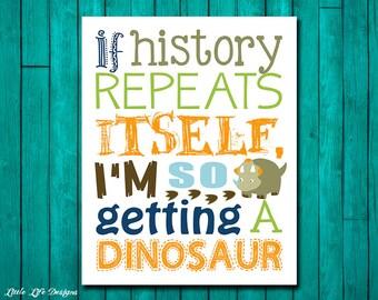 I'm getting a dinosaur. Dinosaur Wall Art. Dinosaur Decor. Children's Wall Art. Little Boys Wall Art. Dinosaur Art. Little Boys Dino Room
