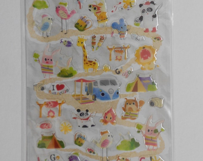 Kawaii Camping Gel Stickers