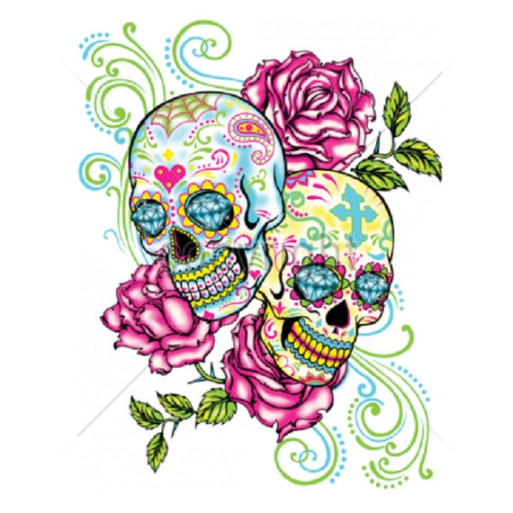Items Similar To 2 Sugar Skull Rose Floral T SHIRT