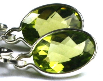 Peridot, 925 Sterling Silver Leverback Earrings, SE001