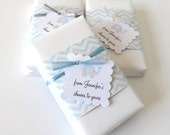 Baby Boy Shower Favors with Custom Elephant Tags, Choose your Soap Scent and Ribbon Color, From my shower to yours, Boy Baby Shower Favors