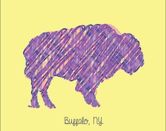 Buffalo NY Print - Scribbled Buffalo Digital Print - Buffalo, New York Print - Buffalo, NY - 8x10