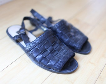 vintage woven black leather wedge sandals womens 6 1/2 *