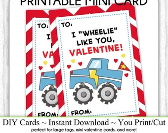 Truck Valentine's Day Printable Cards, Valentine Mini Cards, DIY, You Print, Monster Truck Valentine Printable Cards, Instant Download,