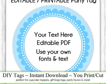 EDITABLE Printable Party Favor, Blue Scallop Party Tag, INSTANT Download, Use as Cupcake Topper, DIY Party Tag, Baby Shower, Birthday Tags