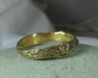 Men's wedding Ring, 18 kt gold Wedding Band,  Heavy Gold Branch Band, solid gold Twig Ring, Men's Ring, Men's gold Band