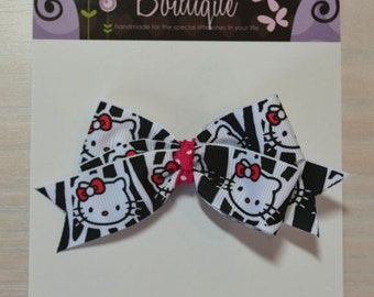 Boutique Style Hair Bow - Hello Kitty, Zebra