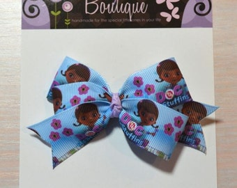 Boutique Style Hair Bow - Doc McStuffins, Blue w/ Flowers