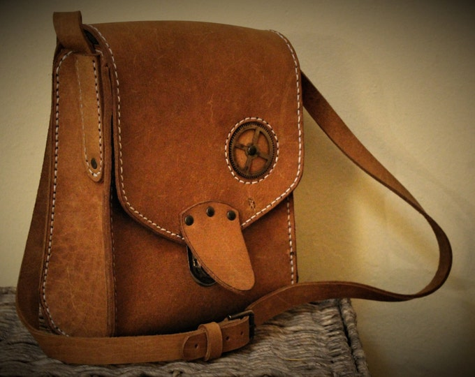 Steampunk unisex leather bag