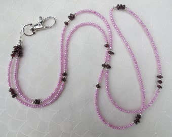 Pink and Garnet Silver Lanyard. Handmade Beaded ID Badge Holder. Necklace ID Holder Pink Glass beads Garnet Gemstone and Silver metal beads.