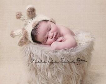 Giraffe Hat Newborn Baby Hat, Knit Newborn Hat, Crochet baby Hat