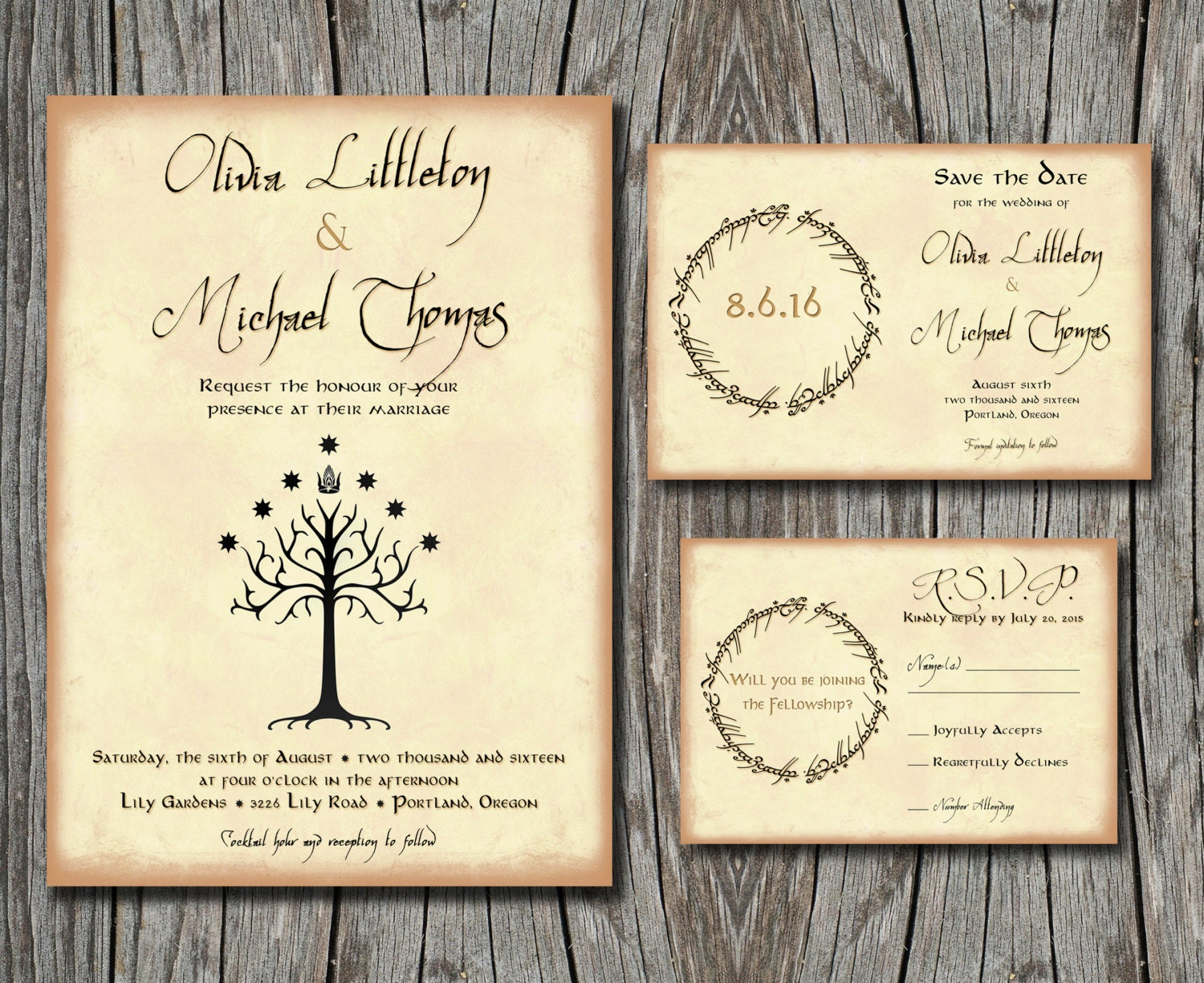 Lord of the rings wedding invitation set save the by for Pictures of wedding rings for invitations
