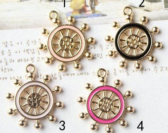 10 pcs of antique gold diamond rudder multicolour drop oil charm pendants 21x24mm