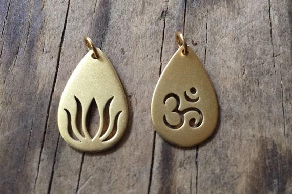 SALE Vermeil Gold teardrop Lotus Charm, Vermeil Gold teardrop Om Charm. Add a charm to your mala tassel.