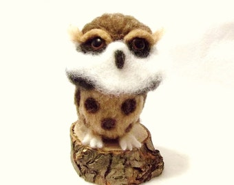 Whiz Is A Very Wise Needle Felted Owl  Miniature Home Decor  Collectible