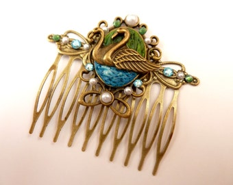 Hair comb in antique style with swans / polymer clay hair comb / Animal Hair Accessories