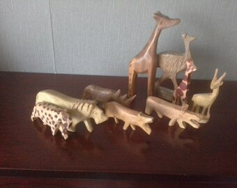 collection of wooden wild animals