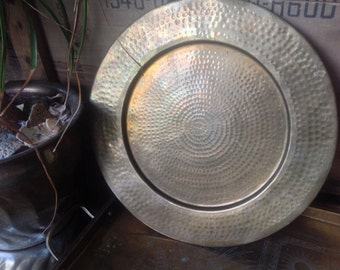 Brass hammered tray