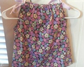 "Small Toddler Girls Pillowcase Sun Dress  in a Purple Floral Print 16"" Long"