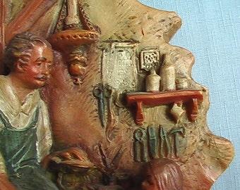 Wax  Carving SHOEMAKER Dog Tools Child artistic painted vintage wallhanging German Gunter Kerzen