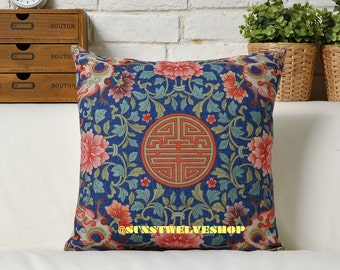 Double Happiness Pattern Chinese Traditional Style Cushion Cover