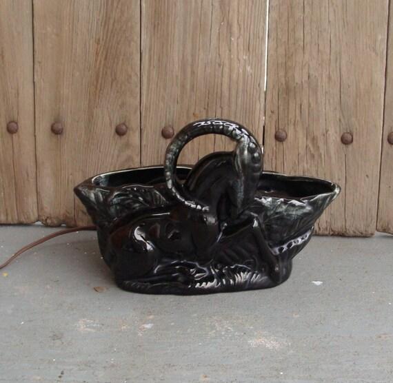 Vintage pottery deer lamp