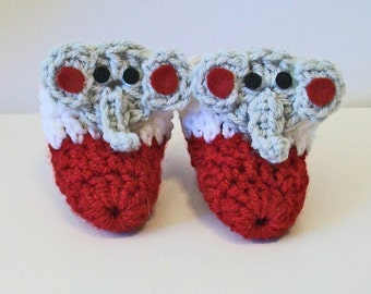 Adorable Hand Crocheted Baby Bootie Shoes Crimson and White with Gray Elephant Alabama Inspired Great Photo Prop