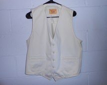 Vintage 70s Lee Separates by Lee White Vest Made in USA 44R
