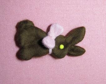 Needle Felted Easter Bunny Pin - Chocolate Bunny