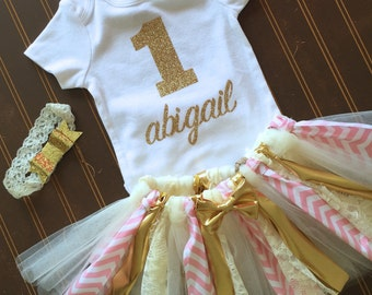 "Gold and pink First Birthday Tutu Set - Gold Onsie ""1"" - Monogrammed 1st Birthday Outfit - blush pink and gold Baby Girl Tutu - Gold Glitter"