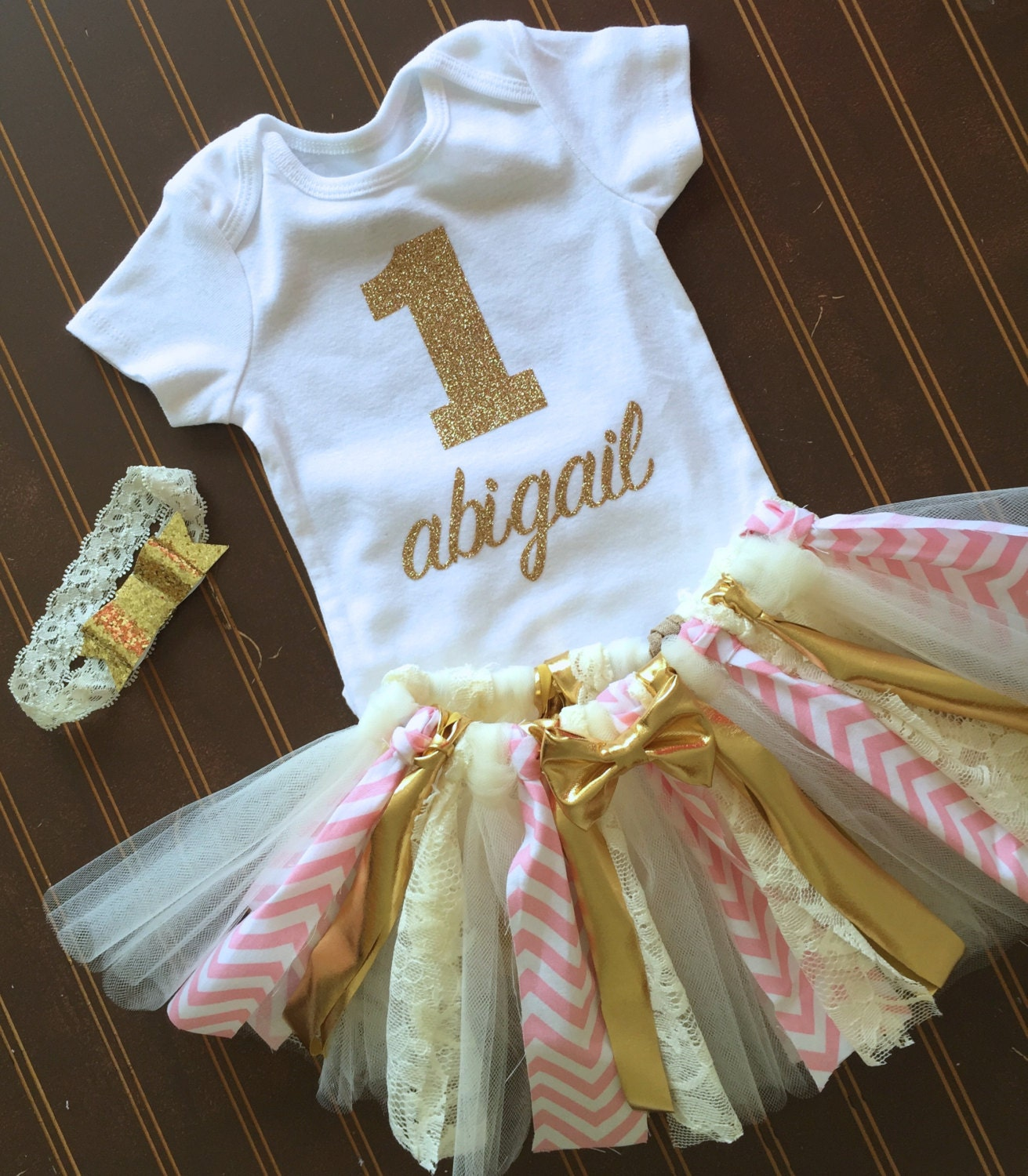 Gold And Pink First Birthday Tutu Set Gold Onsie