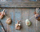 Bunny Garland- Primitive Bunnies Garland-Easter Garland-Easter Decorations-Primtive Easter Decor-Primtive Country Decor