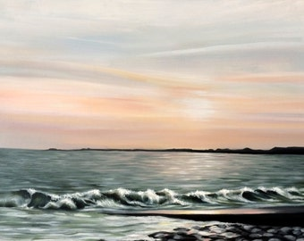 Seascape 'Evening Tide, Ogmore-by-Sea' - Original Oil Painting by Sam Lyle