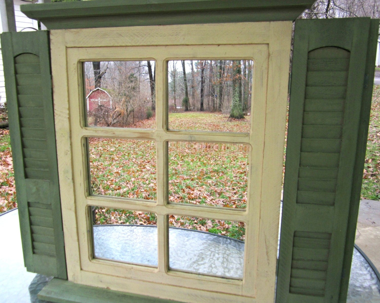 Home Interior Shuttered Mirror Shabby Mirror Chippy Wood