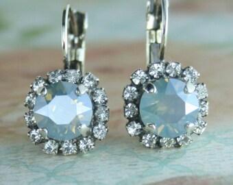 Dusty blue earrings,dusty blue bridesmaid earrings,dusty blue wedding jewelry,blue crystal earrings,dusty blue leverback earrings,dusty blue