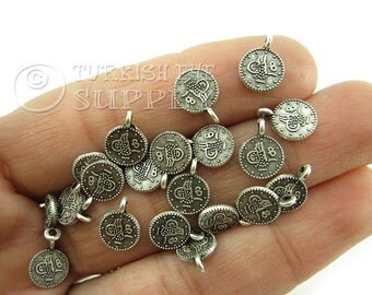 20 pc Mini Rustic Coin Charms, Ottoman Coin Replica Charms, Turkish Coin, Turkish  Matte Antique Silver Plated, Turkish Jewelry
