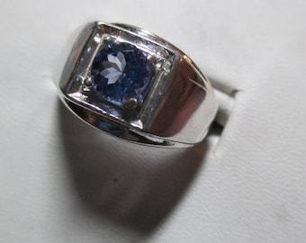 Mens .94ct tanzanite fine genuine mined tanzanite sterling silver ring