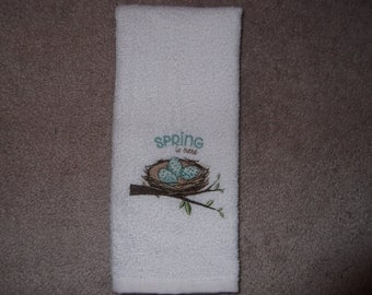 Embroidered ~SPRING is HERE~ Bird Nest Kitchen Bath Hand Towel