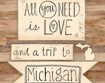 Love and a Trip to Michigan Art Print on Wood