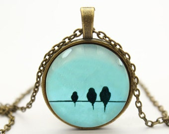 love birds on wire necklace bird necklace pendant jewelry- with free jewelry box